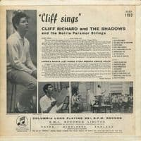 CLIFF RICHARD AND THE SHADOWS Cliff Sings Vinyl Record LP Columbia 1959